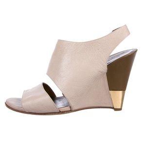 Chloe • Open Toe Leather Wedge Heels